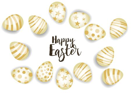 Vector illustration Happy Easter background. Top view of easter eggs. Greeting cards and decoration for Easter Foto de archivo - 138473093