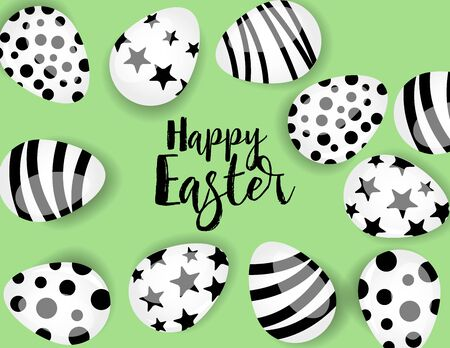 Vector illustration Happy Easter background. Top view of easter eggs. Greeting cards and decoration for Easter