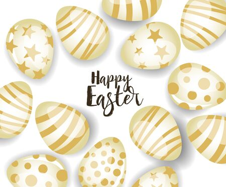 Vector illustration Happy Easter background. Top view of easter eggs. Greeting cards and decoration for Easter Reklamní fotografie - 138473097