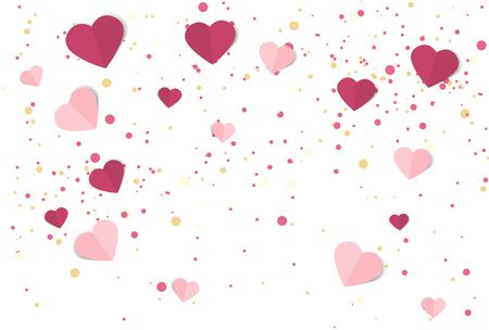 Vector illustration background with hearts. Beautiful confetti hearts falling on background. Invitation Template Background Design, Valentines Day or Mothers Day Illusztráció