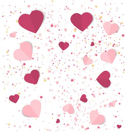 Vector illustration background with hearts. Beautiful confetti hearts falling on background. Invitation Template Background Design, Valentines Day or Mothers Day 일러스트