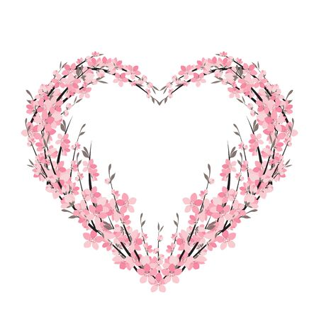 Vector illustration of a flower shaped heart. Flower decoration of sakura. Invitation Template Background Design, Valentines Day or Mothers Day