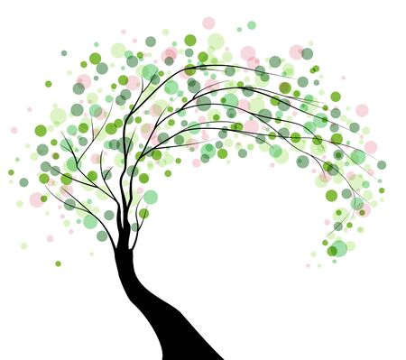 Vector illustration of a tree with leaves on a white background Ilustracja
