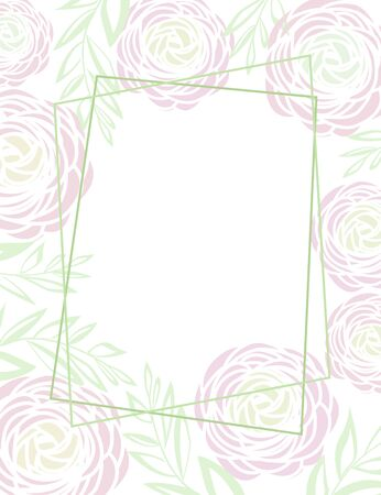 Vector illustration of ranunculus flower. Background with flower and leaf decoration Ilustracja