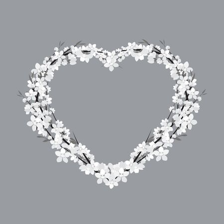 Vector illustration of a flower shaped heart. Floral decoration of invitation. Template Background Design, Valentines Day or Mothers Day