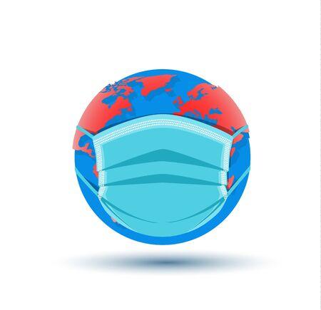 Medical respiratory mask protecting the world.