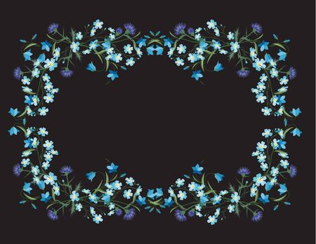 Vector illustration of colorful flowers. Frame floral decorations on a dark background. Nature background
