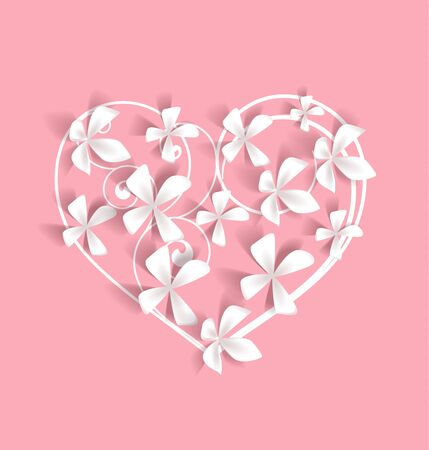 Vector illustration of a flower shaped heart. Floral decoration of invitation. Template Background Design, Valentines Day or Mother's Day