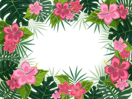 Frame with tropical flowers and palm leaves
