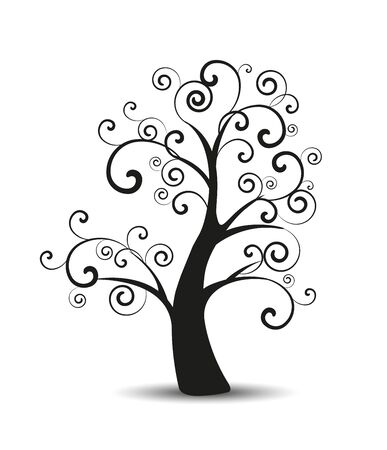 Vector illustration of decorative tree, natural silhouette on a white background Ilustracja