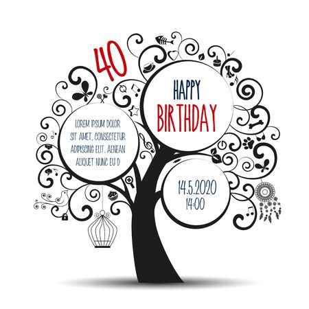 Vector illustration of decorative tree, natural silhouette. Happy birthday card, party celebration