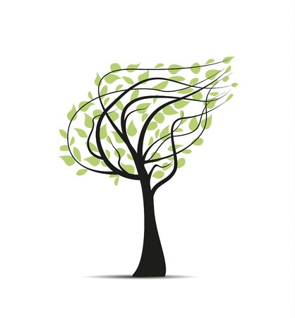 Vector illustration of a tree with leaves. Nature background