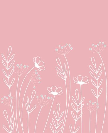 Vector illustration of flowers. The decoration of wildflowers, decorative flowers, meadow flowers Illustration