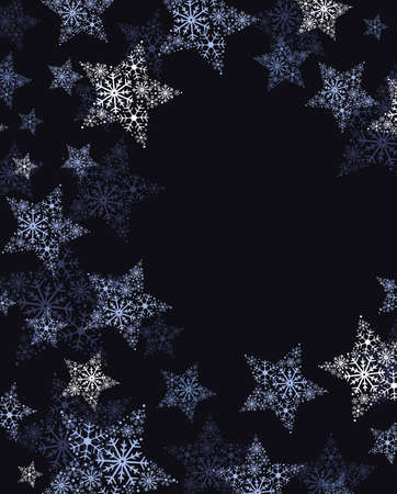 Vector illustration of stars. Christmas background. Merry Christmas card with snowflakes.