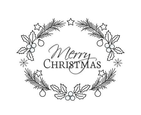Vector illustration of Christmas frame with pine branches and mistletoe. Happy Christmas greeting card. Happy New Year