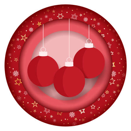 Vector illustration of decorative Christmas balls, ornaments. Christmas background. Merry Christmas card Vectores