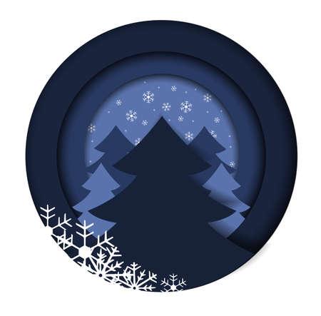Vector illustration of decorative Christmas tree. Christmas background. Merry Christmas card