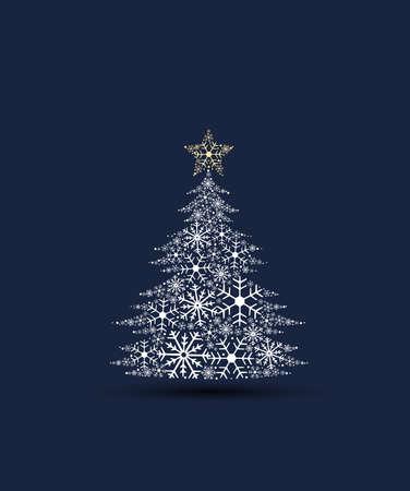 Vector illustration of a Christmas tree. Christmas tree made of snowflakes. Merry Christmas card