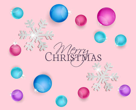 Vector illustration Merry Christmas background. Top view of Christmas decorations. Greeting cards with Christmas balls and snow