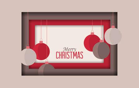 Vector illustration of decorative Christmas balls, ornaments. Christmas background. Merry Christmas card Stock Illustratie