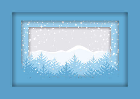 Vector illustration of winter landscape. Christmas background trees. Merry Christmas card