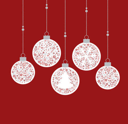 Vector illustration of a Christmas balls decoration made from stars. Happy Christmas greeting card Stock Illustratie