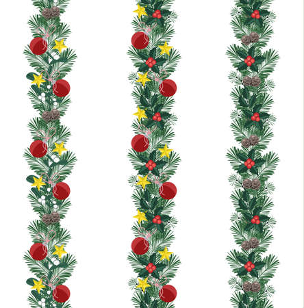 Vector illustration Christmas decorative branches with ornaments. Three seamless pattern