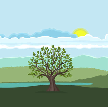 Vector illustration of trees with leaves. Landscape background with forest Vettoriali
