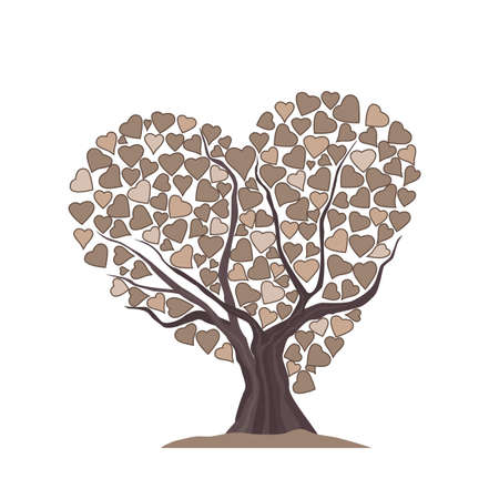 Vector illustration of a tree made of hearts. Template Background Design, Valentines Day or Mothers Day Illusztráció