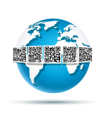 Vector illustration of abstract digital world globe. Using QR Code on Earth