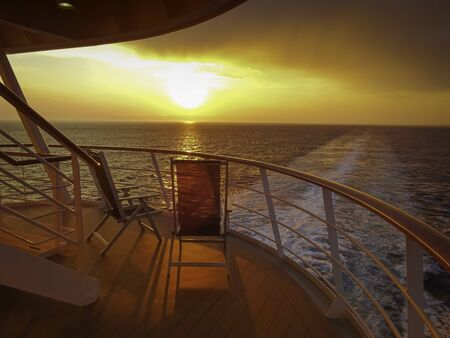 Sunset in the wake of a cruise ship. Reklamní fotografie