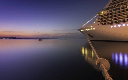 Cruise ship moored at the port of Bari, Italy