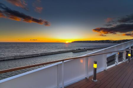 Sunset seen from the deck of a cruise ship.