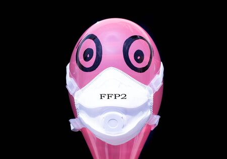 FFP2 mask for facial protection against viruses, allergies, epidemics and global pandemics. To fight against the coronavirus, with FFP2 marking.