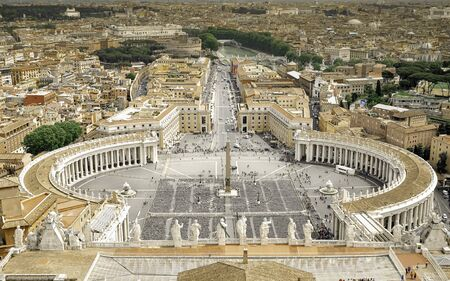 Italy, the Vatican. St. Peter's Square in Rome, view from the dome of the basilica. Archivio Fotografico
