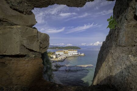 Greece, View of Corfu on the Faliraki marina. Banque d'images