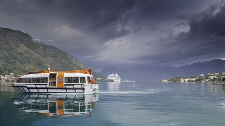 Cruise ship in the Kotor fjord, Montenegro.