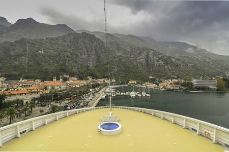 Port of Kotor, Montenegro. From the deck of a cruise ship docked at the port.