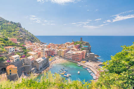 Port of Vernazza, view from the hiking trail, Cinque Terre village