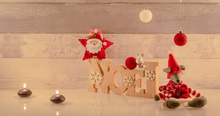 Christmas decorations on wooden background and space for text. 版權商用圖片
