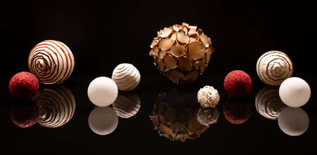Zero waste Christmas decorations with recyclable paper Christmas tree balls. Ecological concept of decorations.