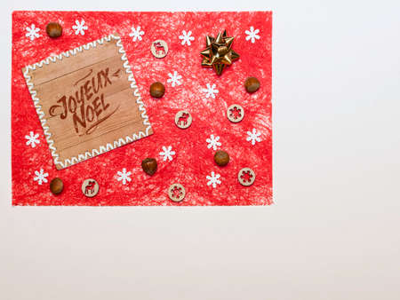 Christmas decorations in sisal fibers with space for a text.