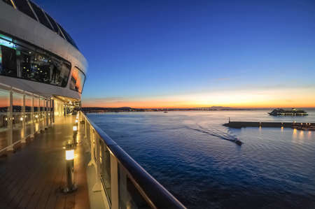 View of a cruise ship and balcony cabins while sailing on the sea. Reklamní fotografie