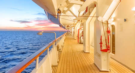 Promenade deck of a cruise ship navigating in the middle of the sea. Reklamní fotografie