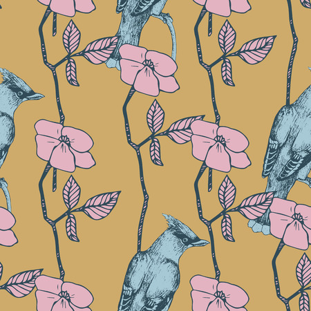 lining fabric: seamless pattern with bird and flower Illustration