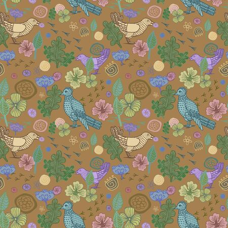 florescence: seamless native pattern with nature, forest with bird ornament