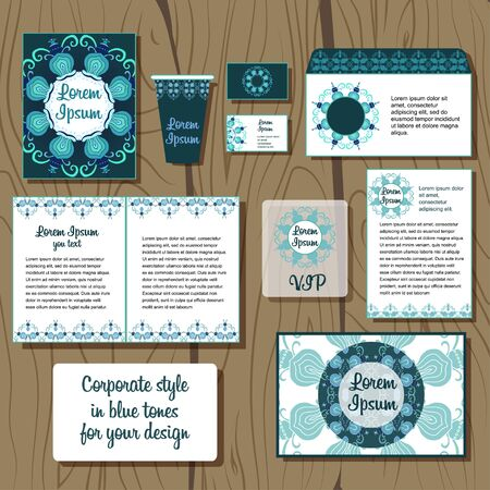 corporative: Floral set of corporative style in blue color Illustration