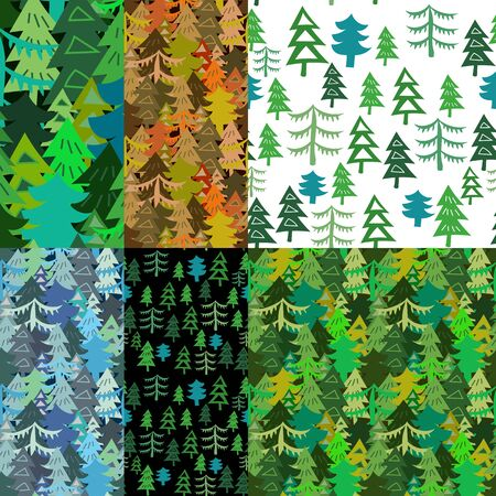 autum: Set of Seamless forest pattern