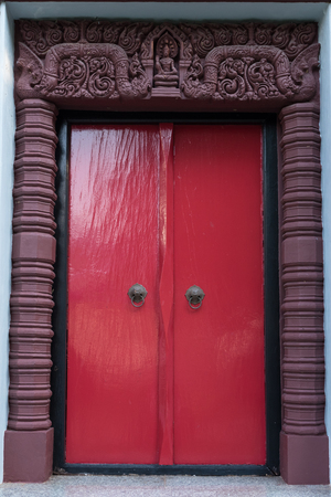 khan: red ancient door at Prachuap khiri khan Lak Mueang