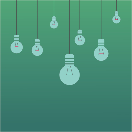 Bright idea and insight concept with light bulb. Flat style vector illustration. Vectores